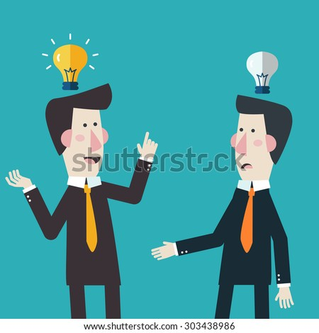 Businessman get the idea with businessman have no idea. Two businessmen talking and discussing. Competition concept. Flat modern design style - stock vector