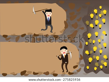 Businessman give up before reach idea but one businessman which never give up before reach idea. - stock vector