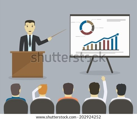 Businessman gives a presentation or seminar. Business meeting, training - stock vector