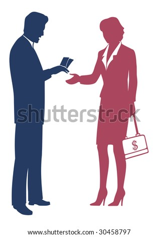 Businessman gives money - stock vector