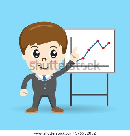 businessman giving a presentation, graph, charts - vector illustration
