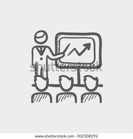Businessman giving a presentation sketch icon for web and mobile. Hand drawn vector dark grey icon on light grey background. - stock vector