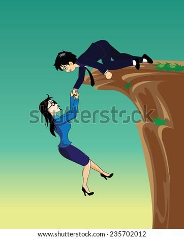 Businessman giving hand to help businesswoman - stock vector