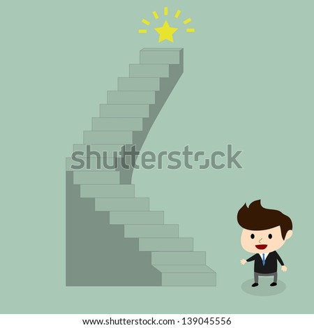 businessman go to the target on top of the stairs - stock vector