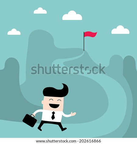 Businessman goes to the goal. Success, goal achievement business concept. Vector illustration - stock vector