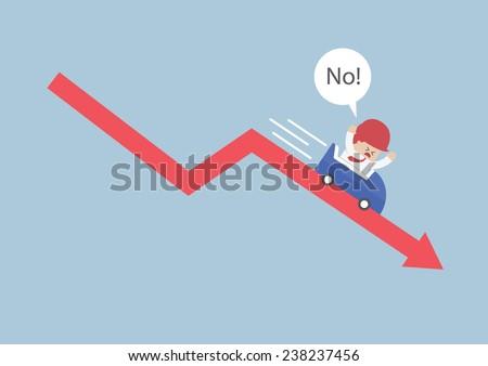 Businessman going down in a roller coaster over stock market arrow, VECTOR, EPS10 - stock vector