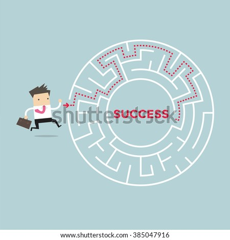 Businessman going to success in a maze - stock vector