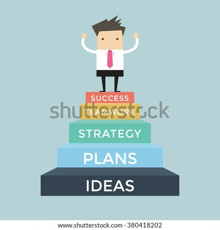 Businessman going up to success, 5 step for success - stock vector