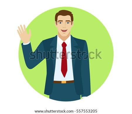 Businessman greeting someone his hand raised stock vector 2018 businessman greeting someone with his hand raised up portrait of businessman in a flat style m4hsunfo