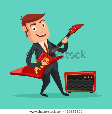 Businessman guitarist. Vector flat cartoon illustration - stock vector