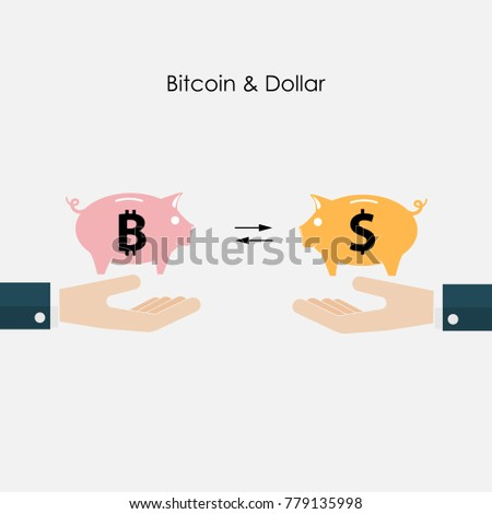 Businessman Hand And Piggy SymbolDollar Bitcoins Exchange ConceptDigital Virtual Electronic Coins
