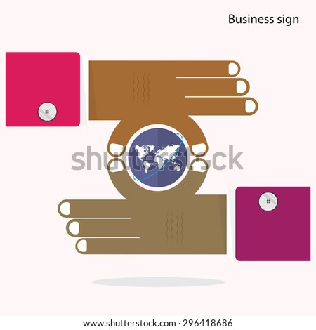 Businessman hand and small world symbol in his hand. Business and Finance concept. Corporate business industrial creative logotype symbol. Vector illustration - stock vector