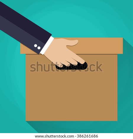 businessman Hand carrying a cardboard box. delivery concept. vector illustration in flat design on green background with long shadow - stock vector