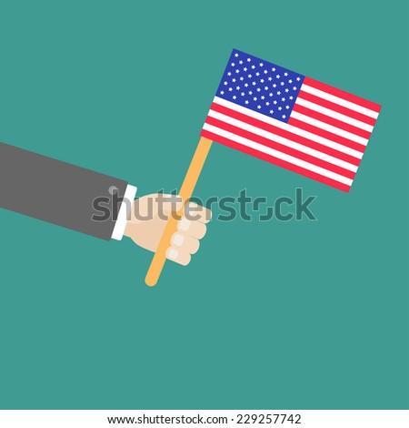 Businessman hand holding american flag Flat design style Vector illustration - stock vector