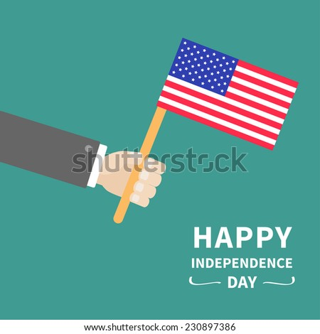Businessman hand holding american flag Happy Independence day 4th of july Flat design Vector illustration - stock vector