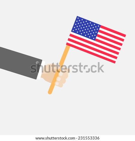 Businessman hand holding american flag Isolated Flat design style Vector illustration - stock vector