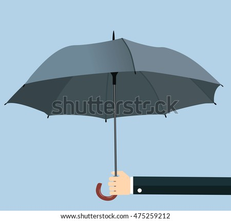 Businessman hand holding an umbrella. The concept of protection, insurance. illustration in flat design