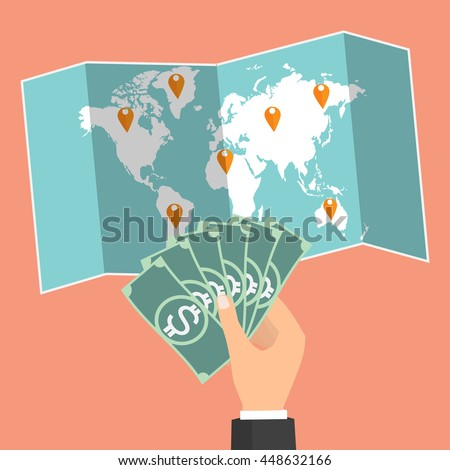 Businessman hand holding banknote on wold map background and select country for currency exchange. Vector concept design of business world money exchange. - stock vector
