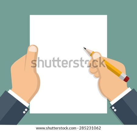 Businessman hand holding blank sheet of paper and pencil - Flat style - stock vector
