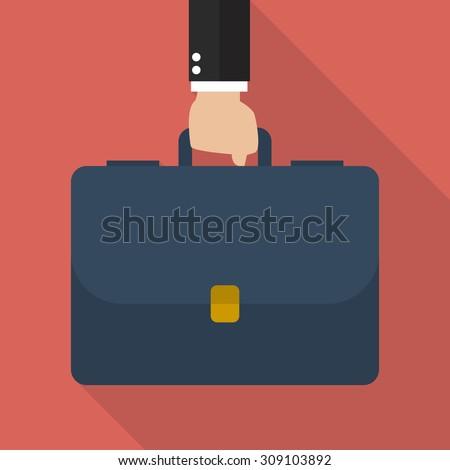 Businessman hand holding briefcase. vector illustration - stock vector