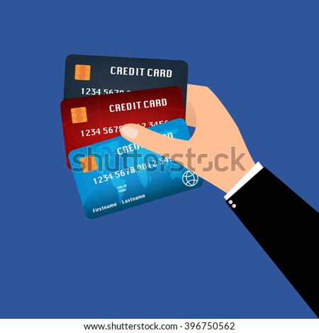 Businessman hand holding chip plastic credit cards. Vector illustration business concept design.