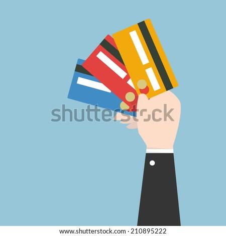 Businessman hand holding credit card , eps10 vector format, flat design - stock vector