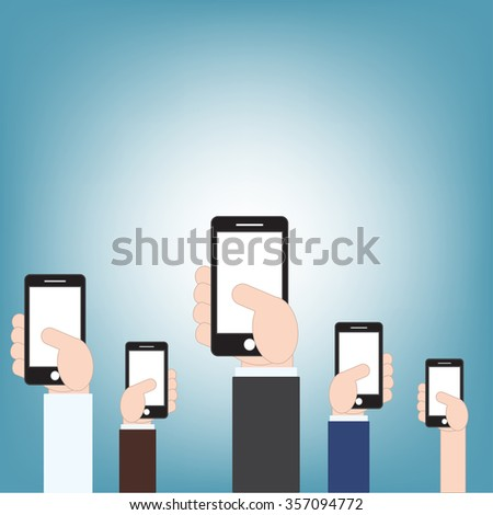 businessman hand holding mobile phone, vector illustration in flat design style - stock vector