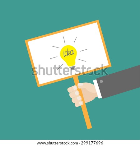 Businessman hand holding paper blank sign plate with idea light bulb on the stick Flat design Vector illustration - stock vector
