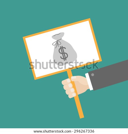 Businessman hand holding paper blank sign plate with money bag on the stick Flat design Vector illustration - stock vector