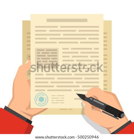Businessman hand holding pen and signing business contract. Flat vector illustration.