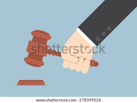 Businessman hand knocking judge's gavel, VECTOR, EPS10 - stock vector