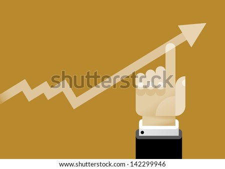 Businessman hand lifting up growth business graph arrow. Vector illustration with vintage colors. Illustration idea - Business success and Company profit growth only depends on people - stock vector