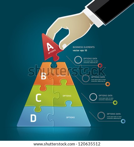 Businessman hand making a pyramid business strategy diagram puzzle Options. Vector illustration - stock vector