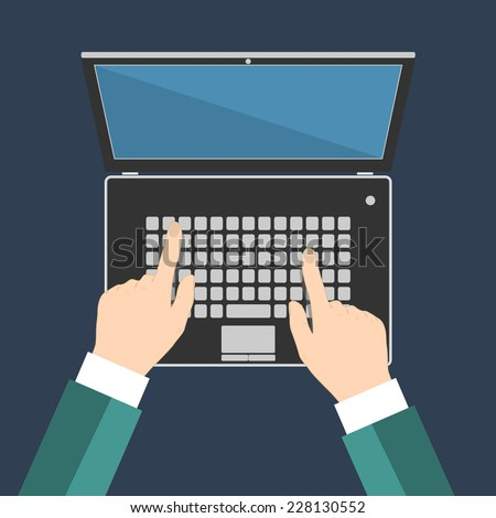 Businessman hand on laptop keyboard with blank screen monitor, Flat vector illustration, EPS10 - stock vector