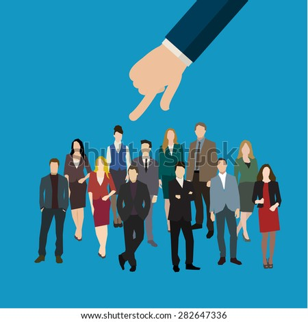 Businessman hand pointing at woman in business concept of personnel selection, hiring or recruitment. Flat design vector illustration. - stock vector