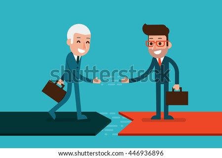 Businessman hand shaking. - stock vector