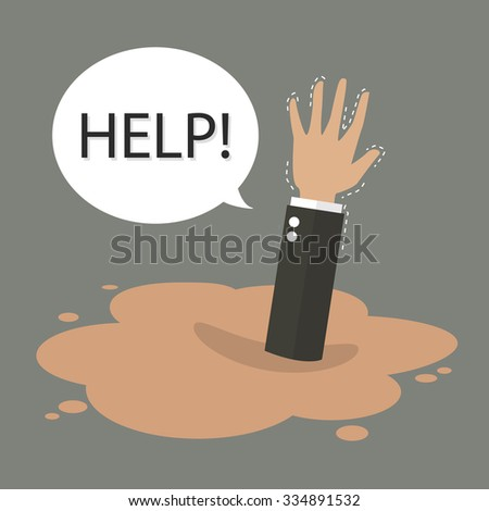 Businessman hand sinking in a puddle of quicksand. Business concept - stock vector