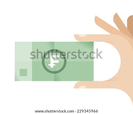 Businessman hand with Swiss Franc (CHF) money banknote. - stock vector