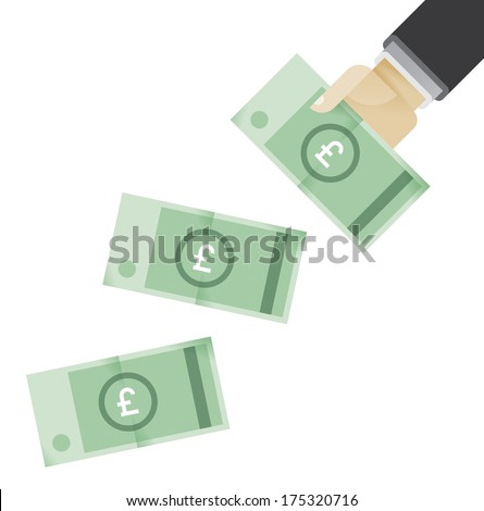 Businessman hands giving money - British pounds (GBP). Idea - Business credit, Lottery win, Salary, Big company's profit, Business success. - stock vector