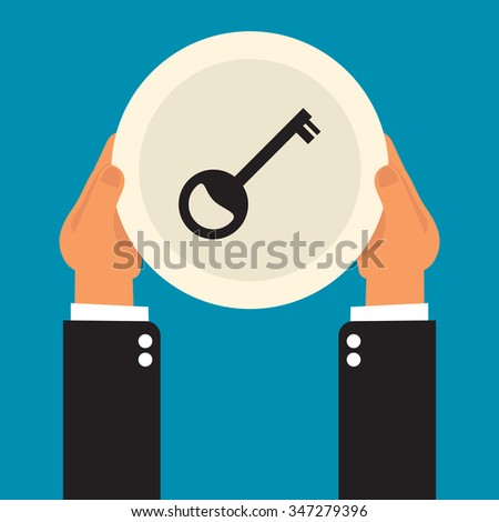 businessman hands holding  plate with a key - stock vector