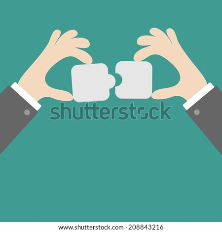 Businessman hands holding puzzle mosaic parts. Flat design. Vector illustration - stock vector