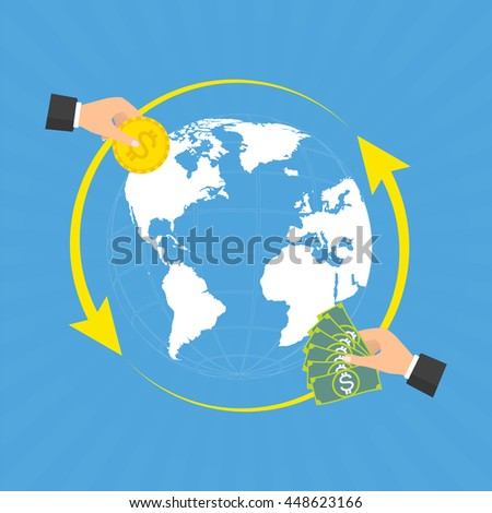 Businessman hands with coin and banknote for currency exchange on globe background with rays. Vector concept design of business world money exchange. - stock vector