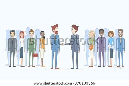 Businessman Handshake Businesspeople Group Team Hand Shake Management Concept Business People Vector Illustration - stock vector