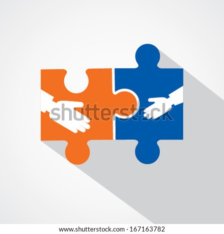 Businessman handshake with puzzle pieces  stock vector  - stock vector