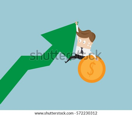 businessman hanging on growth arrow graph with money coin vector illustration