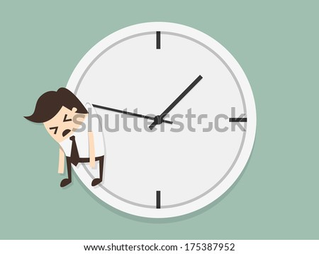 Businessman hangs on an arrow of clock - stock vector