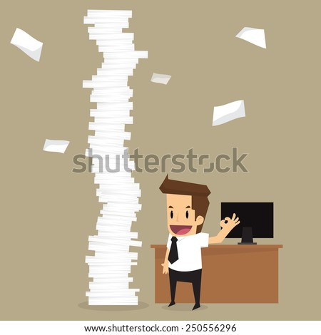 businessman happy a lot of work.vector - stock vector