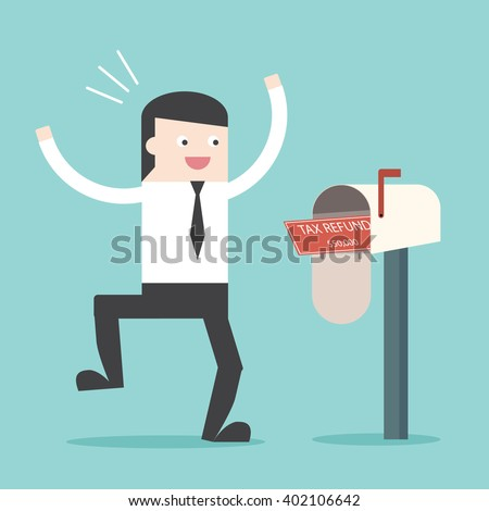 Businessman happy to got TAX refund cheque in mailbox. Refunded check. Money spending. Flat design for business financial marketing commercial banking web minimal concept cartoon illustration. - stock vector