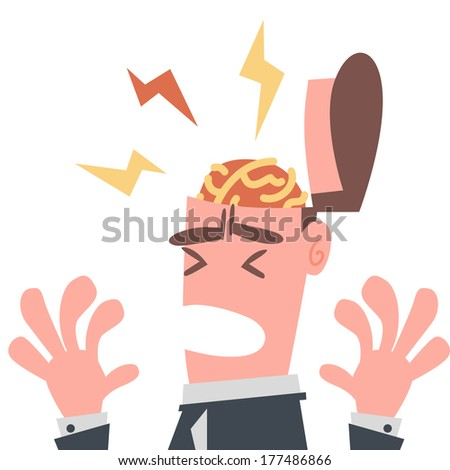 Businessman has Pain in His Brain - stock vector