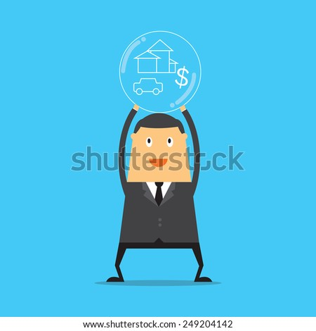Businessman have a dream. He thinking his target and dreams. - stock vector
